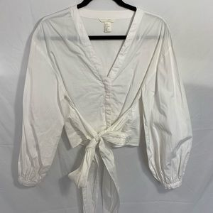 H&M white top with knot detail